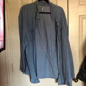 Denim button up blouse